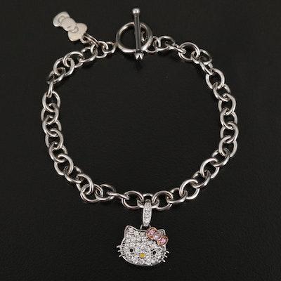 Sterling Hello Kitty Sapphire, Diamond and Enamel Bracelet