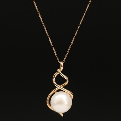 14K Pearl Swirl and Floral Pendant Necklace
