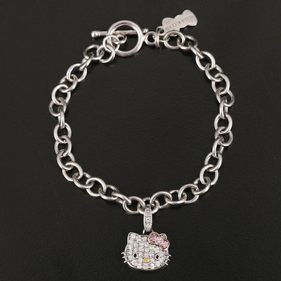 Sterling Hello Kitty Pink and White Sapphire, Diamond and Enamel Bracelet