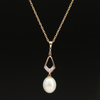 14K Pearl and Diamond Pendant with Sterling Chain