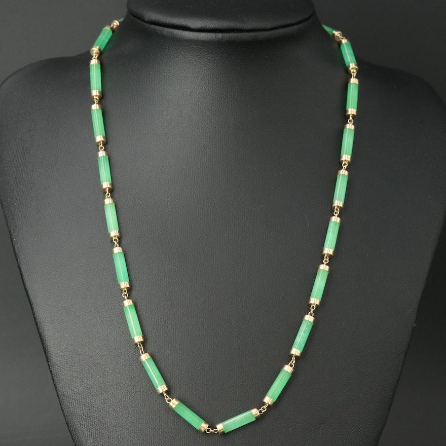 14K Chinese Jadeite Necklace with Longevity Symbol on Clasp