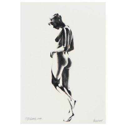 O. Yuliana Ink Drawing of Nude Figure, 2021