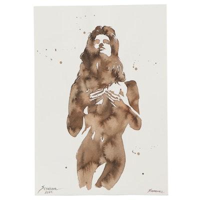 Anastasia Serdnova Watercolor Painting of Figure, 2021