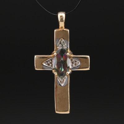 10K Topaz and Diamond Cross Pendant