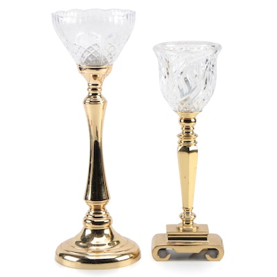 Crystal, Glass and Brass Torchiere Uplight Console Lamps, Contemporary