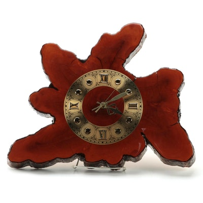 Lacquered Cypress Tree Trunk Slice Wall Clock