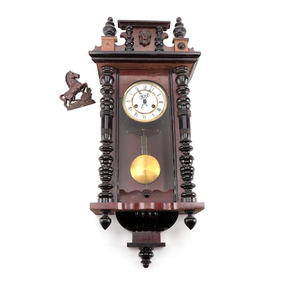 Wooden Spindle Case Wall Mount Pendulum Clock