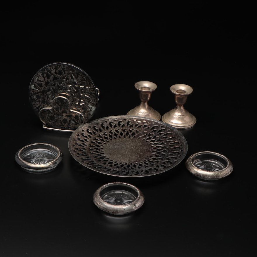 Silver Tableware with Sterling Weighted Candlesticks, Rimmed Coasters and More