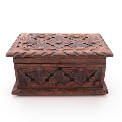 Black Forest Style Carved Oak Wood Floral Motif Lidded Box, Early 20th C.