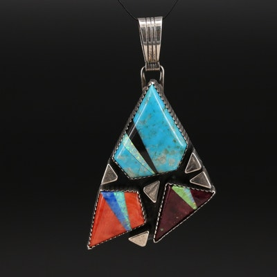 Signed Southwestern Style Sterling Spiny Oyster and Gemstone Geometric Pendant