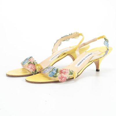 Manolo Blahnik Floral Appliqué Yellow Leather Sandals