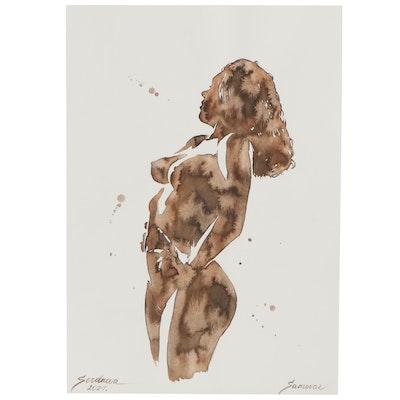 Anastasia Serdnova Watercolor Painting of Female Nude, 2021
