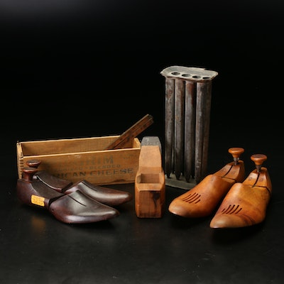Wooden Shoe Trees, Box, Ruler, and Hand Plane with Metal Candle Mold