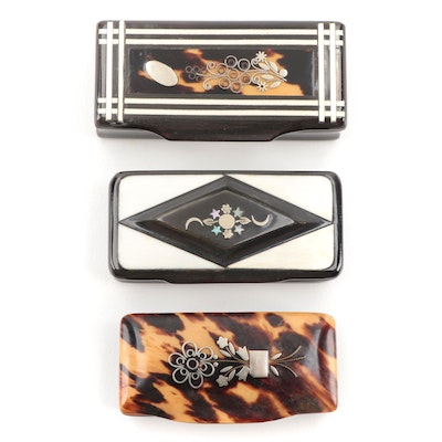 English Horn and Tortoise Shell Snuff Boxes with Abalone and Sterling Inlay