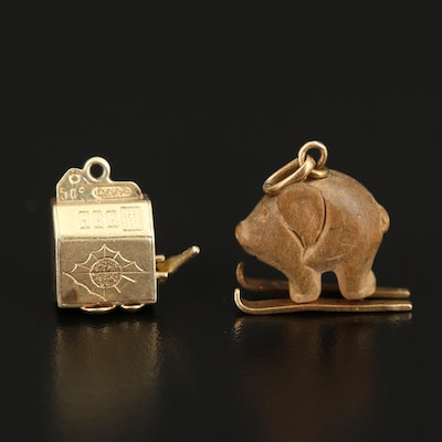 14K and 18K Wooden Pig on Skis and Slot Machine Charms