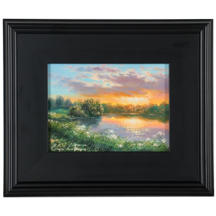 """Jevgenijus Litvinas Oil Painting """"Lake,"""" 2021"""