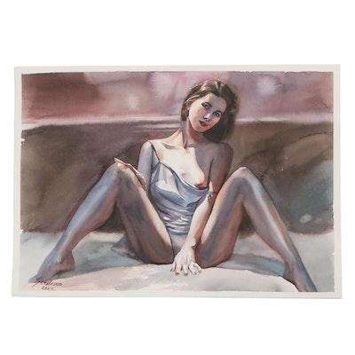 Anastasija Serdnova Watercolor Painting of Female Figure, 2021
