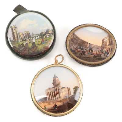 Victorian Reverse Painted Souvenir Pin Cushions and Pocket Mirror, Antique