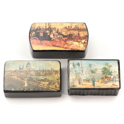 Victorian Lacquered Papier-Mâché Snuff Boxes, Mid to Late 19th Century
