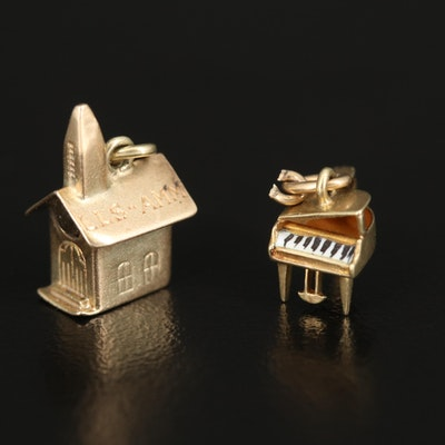 Vintage 14K Stanhope Church and Enamel Piano Charms
