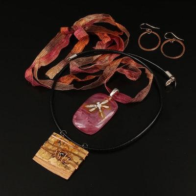 Hematite, Wood, and Dichroic Glass Jewelry Featuring Tessoro