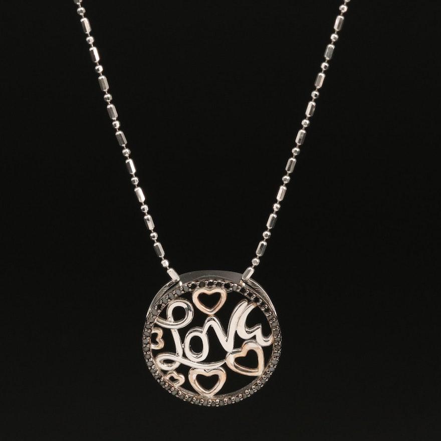 Sterling Silver Diamond 'Love' Pendant Necklace