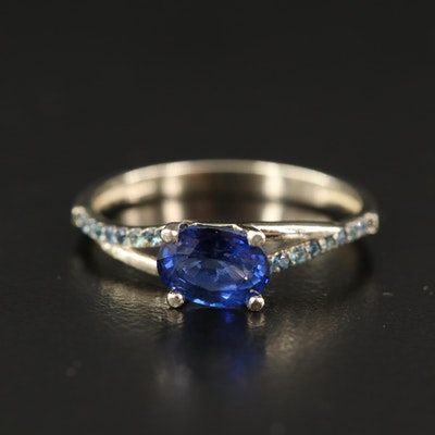 14K Sapphire East West Ring