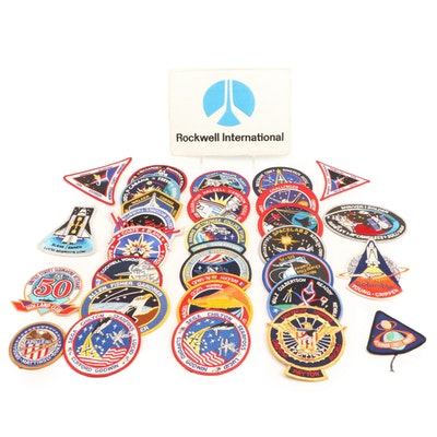 NASA Space and Shuttle Mission Embroidered Cloth Patches, Late 20th Century