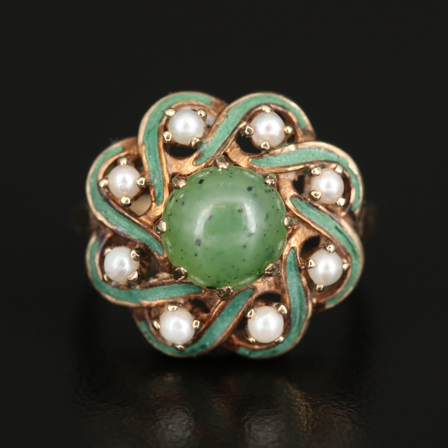 10K Nephrite, Seed Pearl and Enamel Ring