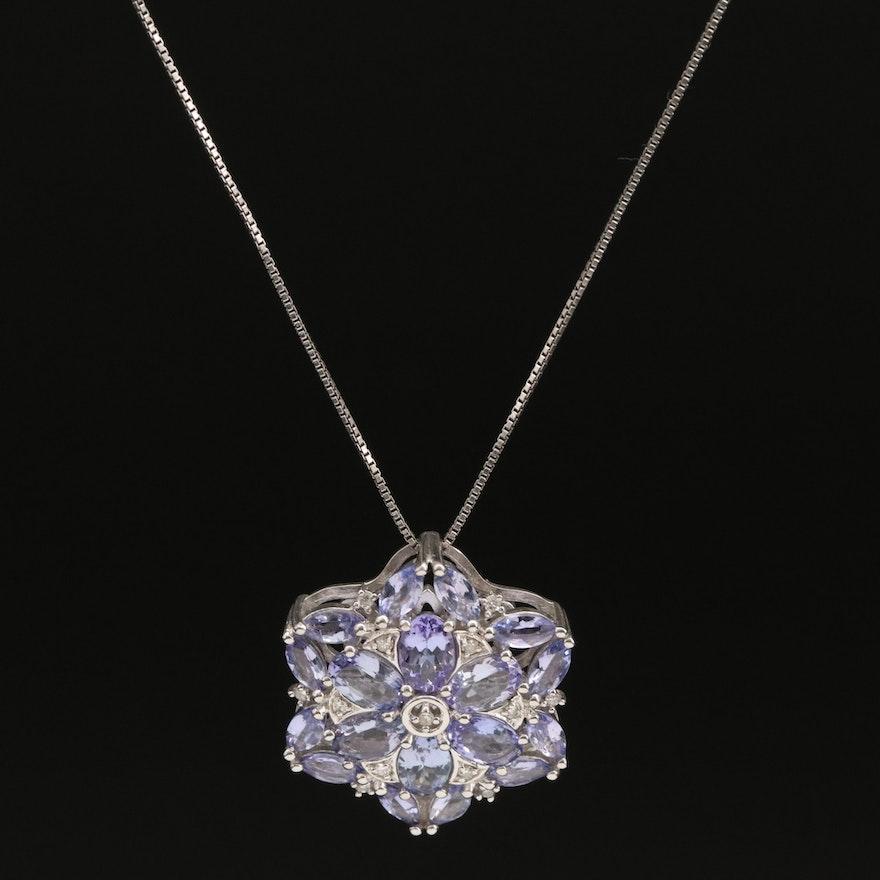 Sterling Tanzanite and Diamond Pendant Necklace