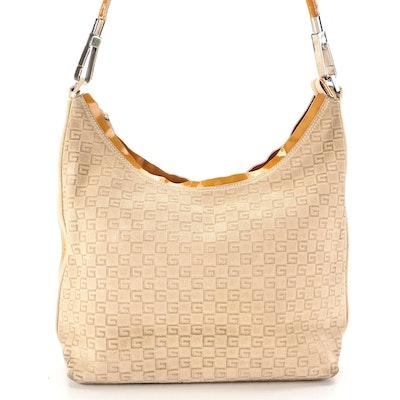 Gucci Shoulder Bag in G Logo Suede and Glazed Leather