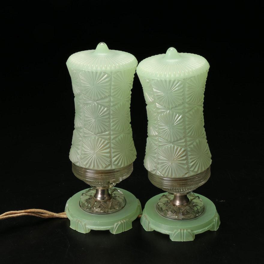 Green Art Deco Pressed Glass Boudoir Lamps, Mid-20th Century