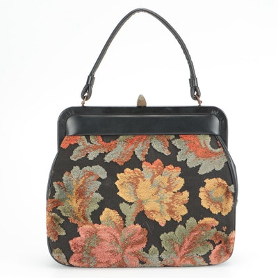 Floral Chenille Carpet Frame Top Handle Bag, Mid-20th Century
