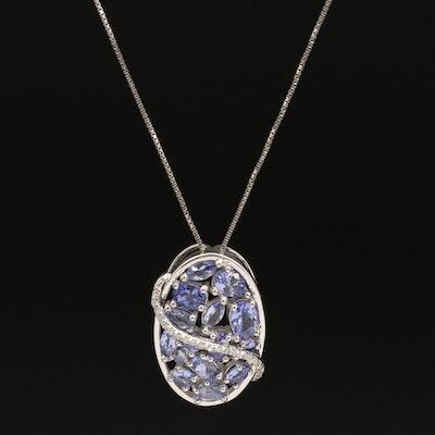 Sterling Silver Tanzanite Diamond Pendant Necklace