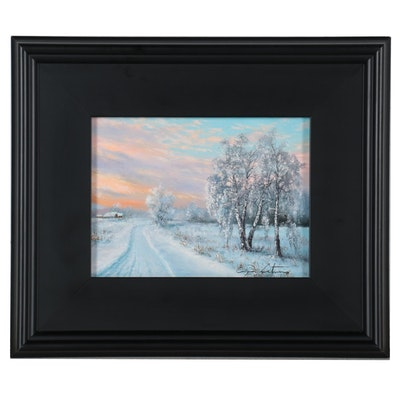 "Jevgenijus Litvinas Landscape Oil Painting ""Village Road,"" 2020"