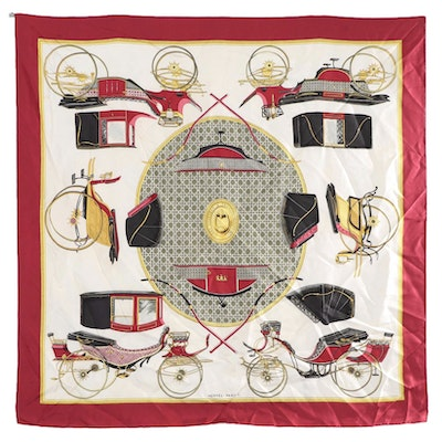"""Hermès Early Issue """"Les Voitures a Transformation"""" Silk Twill Scarf"""