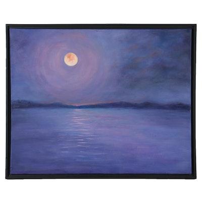 """Sanna Nocturne Landscape Acrylic Painting """"Purple Mist,"""" 2020"""