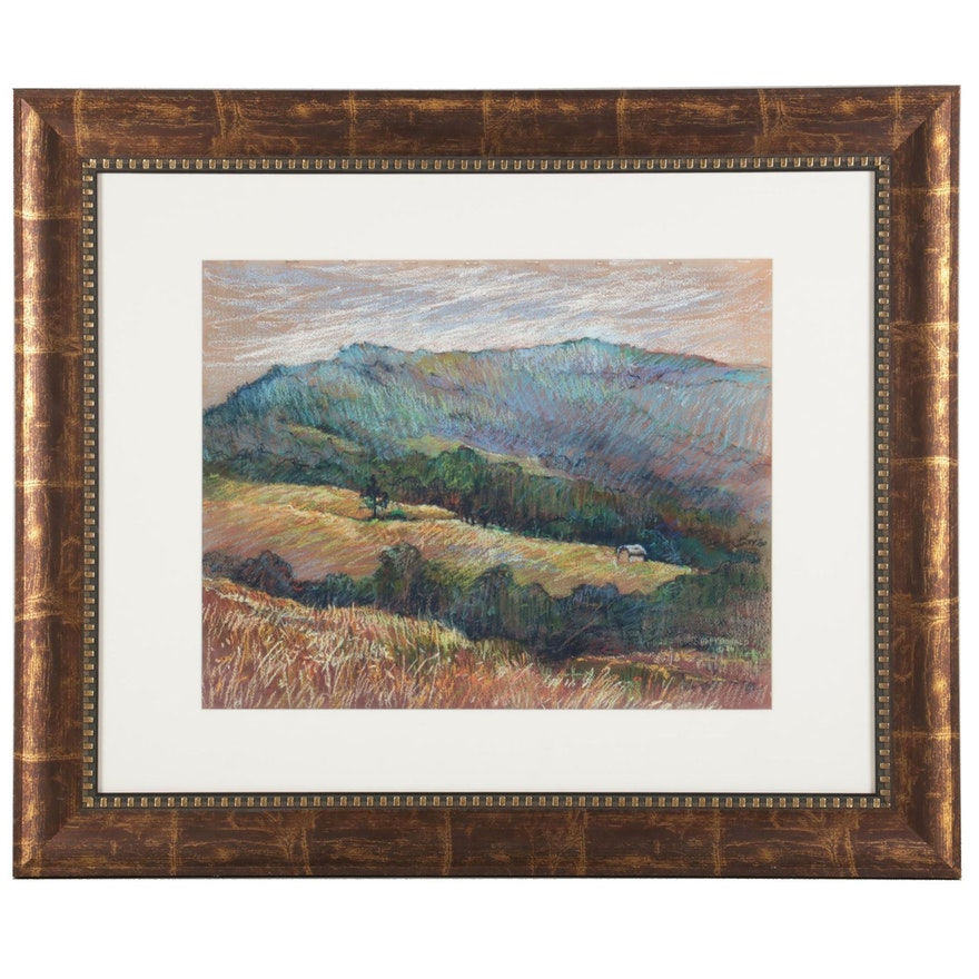 Marianna McDonald Impressionist Rolling Hills Pastel Drawing, 1986