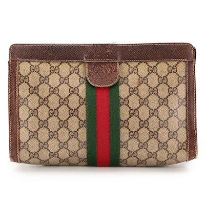 Gucci Accessories Collection Web Toiletry Bag in GG Supreme Canvas and Leather