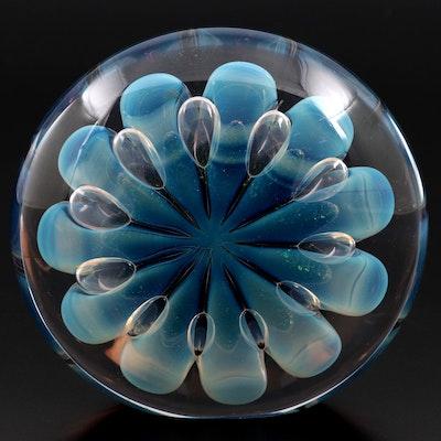 Robert Eickholt Handcrafted Dichroic Opalescent Art Glass Paperweight, 1990
