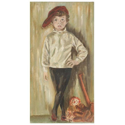 Anita Glass Young Child Portrait Oil Painting, Mid to Late 20th Century