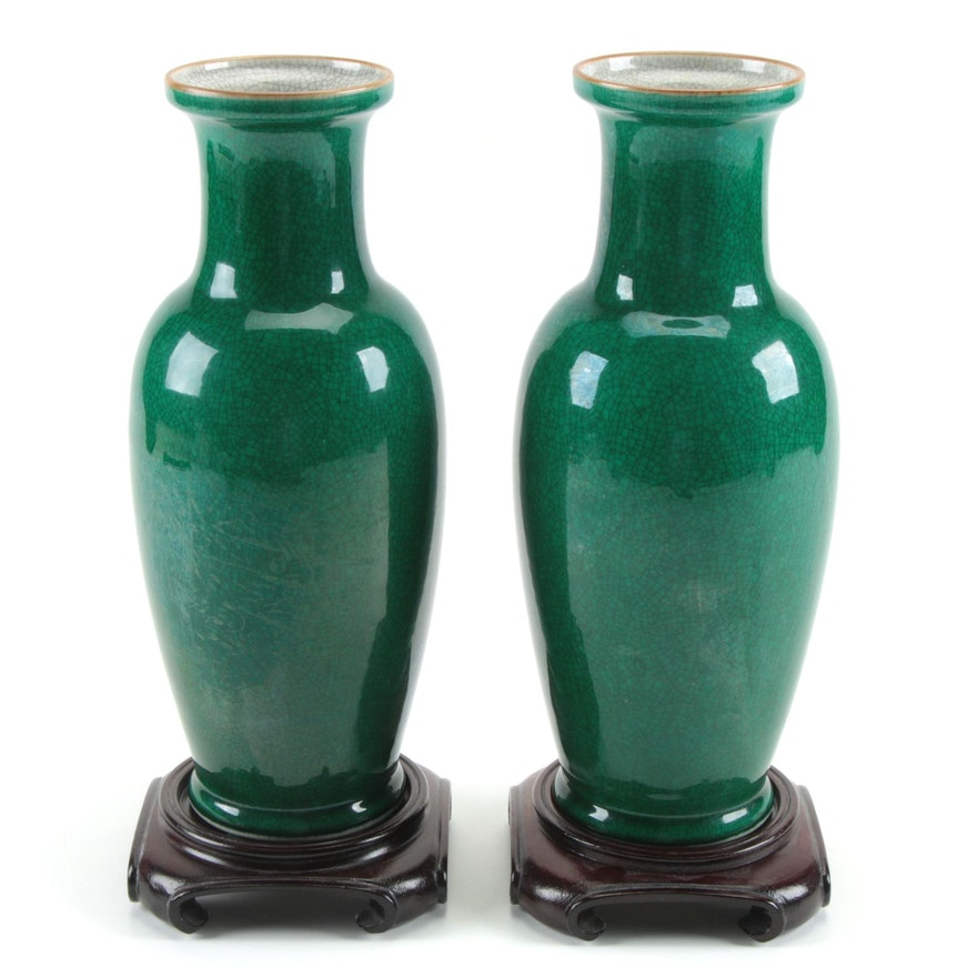 Pair of Chinese Green Crackle Glaze Porcelain Vases on Wooden Stands