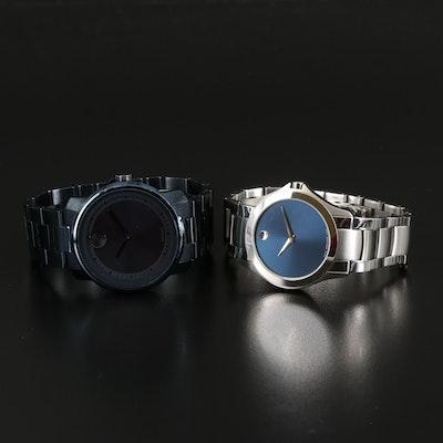 Two Movado Stainless Steel Quartz Wristwatches