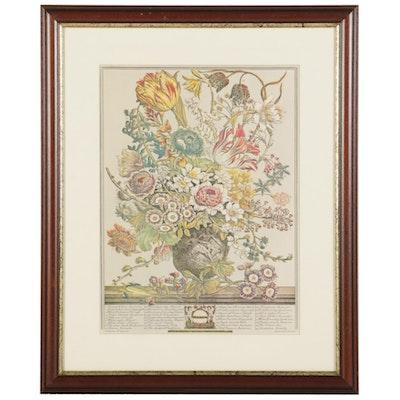 "Floral Still Life Offset Lithograph After Pieter Casteels ""March,"" Circa 2000"