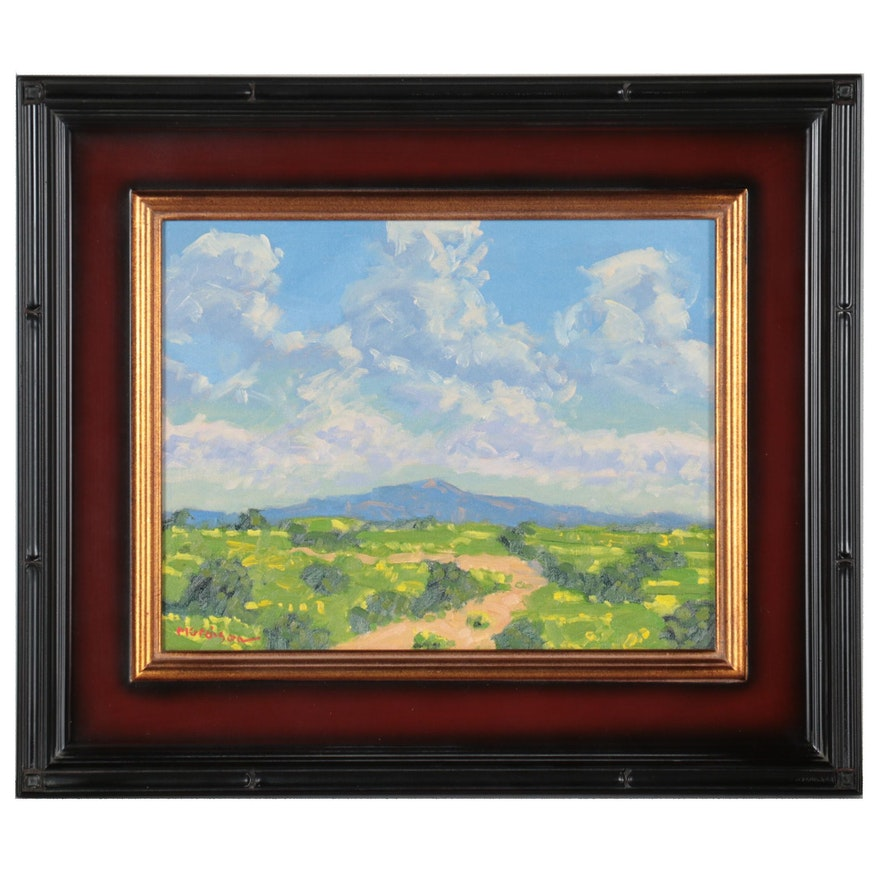 """Marc Graison Western Landscape Oil Painting """"New Mexico Clouds,"""" 2021"""