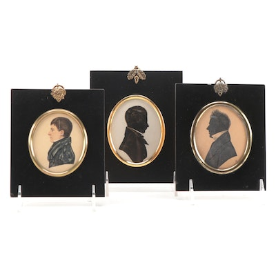 Embellished Cut-Paper and Hand-Painted Silhouettes, 19th Century