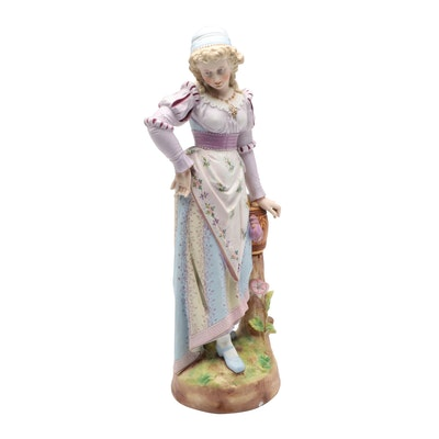 Victorian Painted Bisque Figure of a Maiden, Late 19th Century