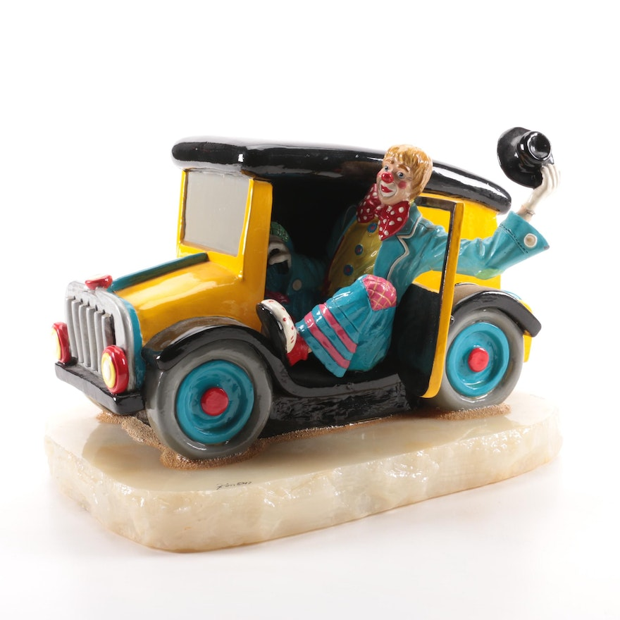 Ron Lee Enamel and Metal Clown in Car Figurine on Stone Base, Late 20th Century