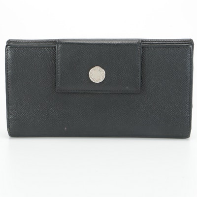 BVLGARI Clutch Wallet in Black Grained Leather