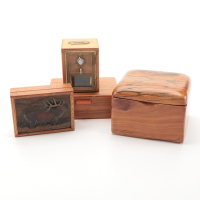 Maple Box with Bakelite Handle and Other Wood Boxes and Bank, Mid-Late 20th C.